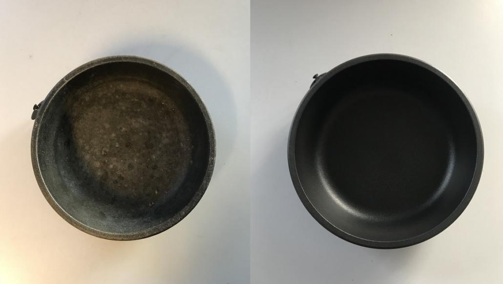 Vor und nach der Antihaftbeschichtung
